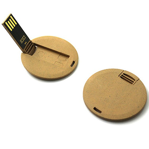 Recycling round card usb flash drive